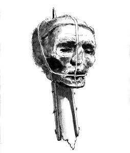 Oliver_Cromwell's_head,_late_1700s