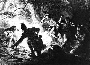 The rescue of Jemima Boone and Betsey and Fanny Callaway, kidnapped from Boonesborough by Indians in July 1776.  A. Crafts, Pioneers in the Settlement of America (Boston, 1877)